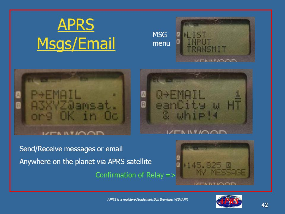 APRS Msgs/Email MSG menu Send/Receive messages or email