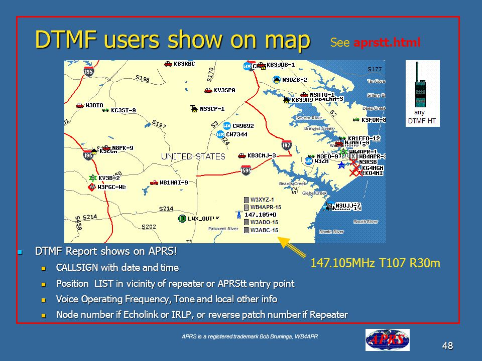 DTMF users show on map See aprstt.html 147.105MHz T107 R30m