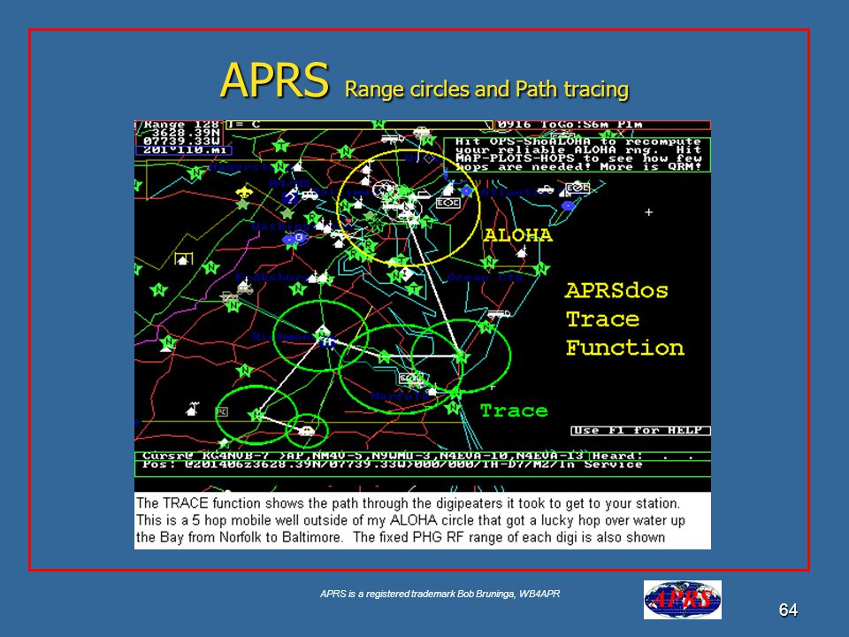 APRS Range circles and Path tracing