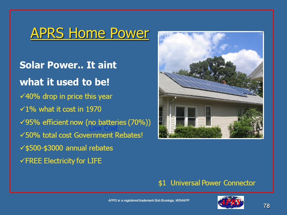 APRS Home Power Solar Power.. It aint what it used to be!