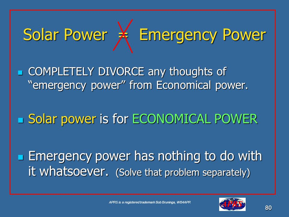 Solar Power = Emergency Power