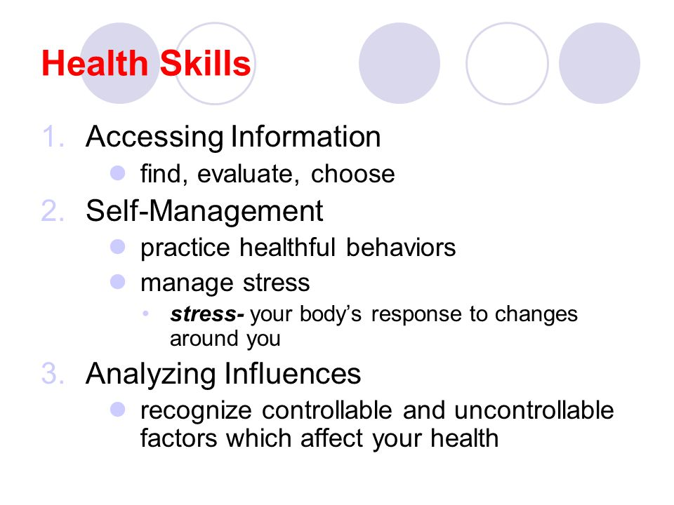 Health Skills Accessing Information Self-Management