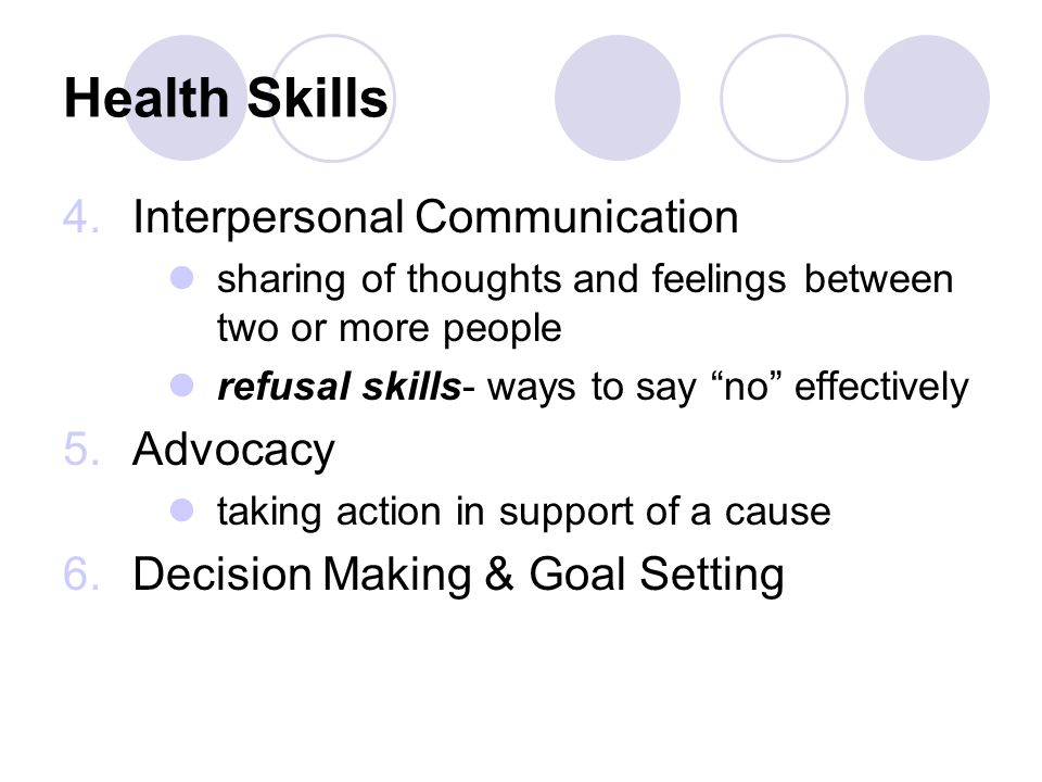 Health Skills Interpersonal Communication Advocacy