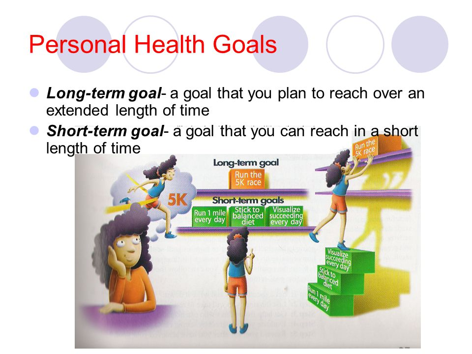 Personal Health Goals Long-term goal- a goal that you plan to reach over an extended length of time.