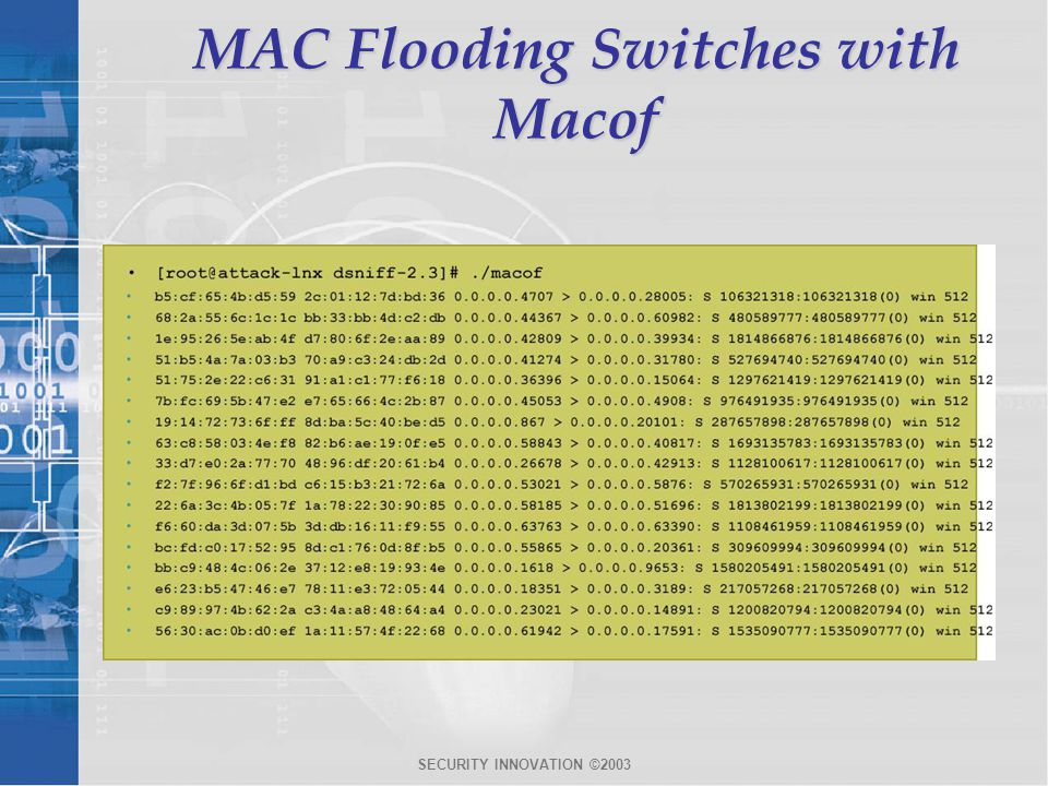 MAC Flooding Switches with Macof