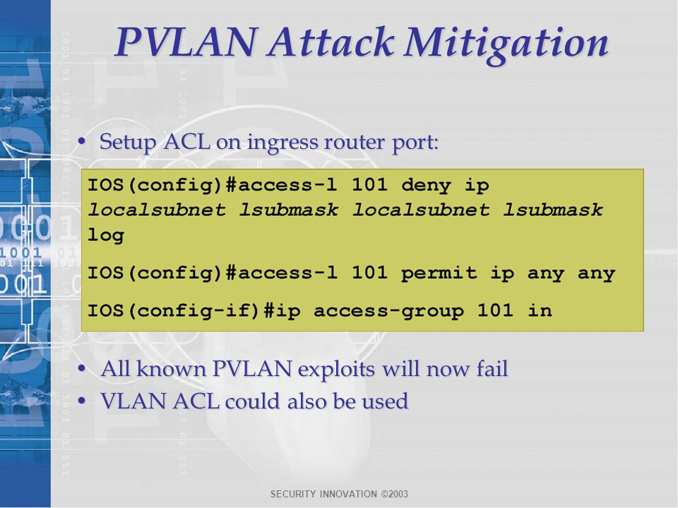PVLAN Attack Mitigation