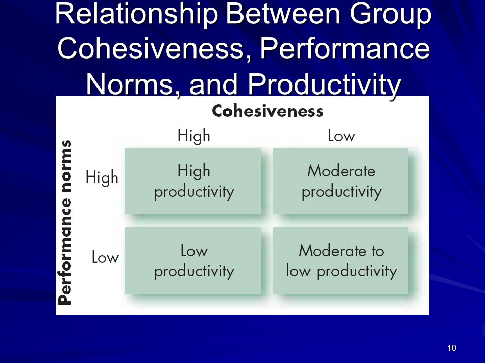 Relationship Between Group Cohesiveness, Performance Norms, and Productivity