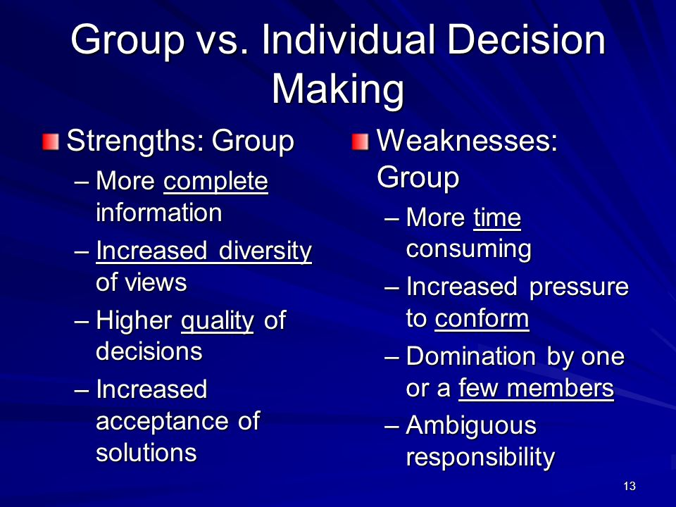 Group vs. Individual Decision Making