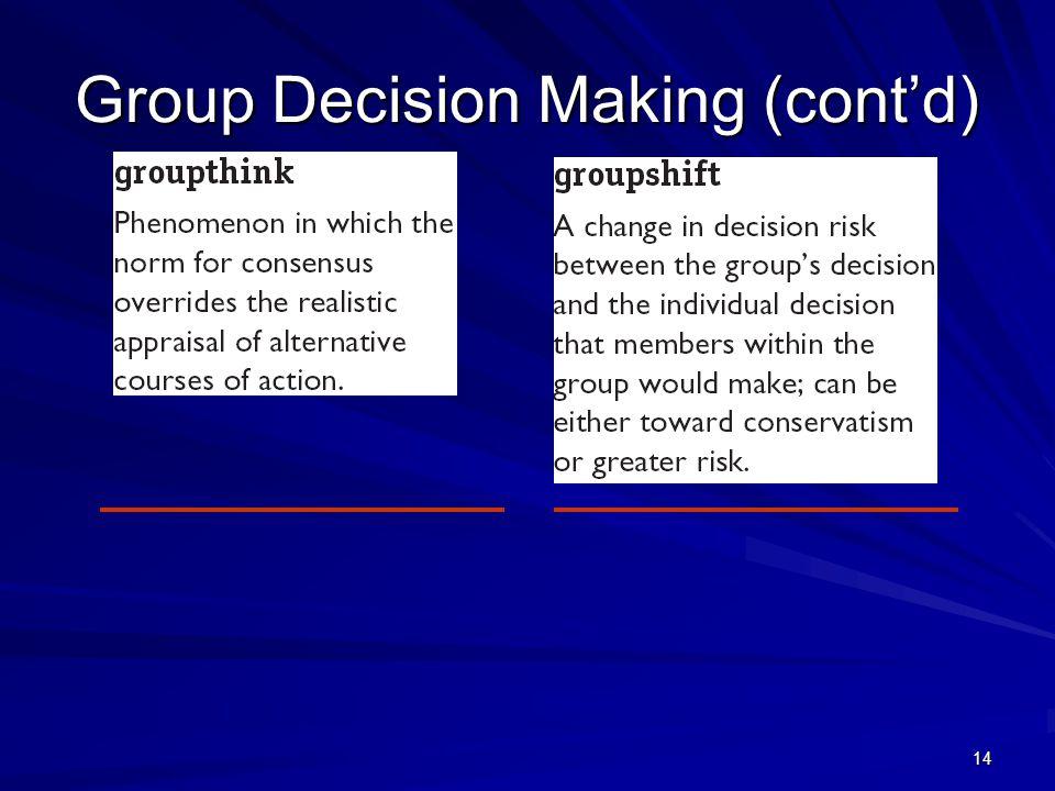 Group Decision Making (cont'd)