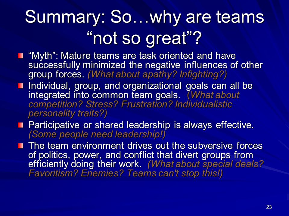 Summary: So…why are teams not so great