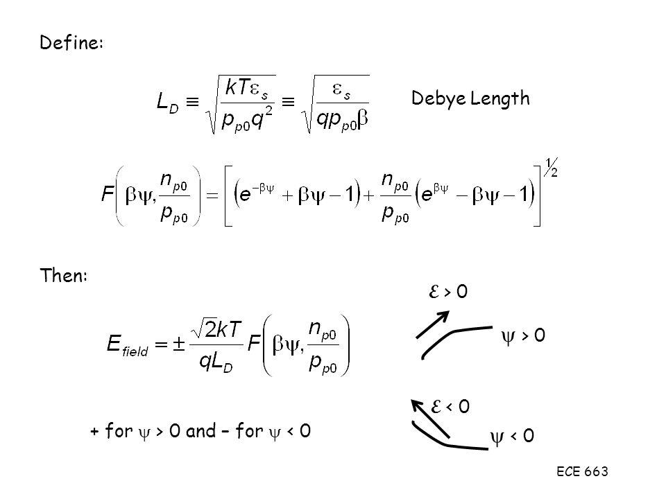 y > 0 y < 0 Define: Debye Length Then: E > 0 E < 0