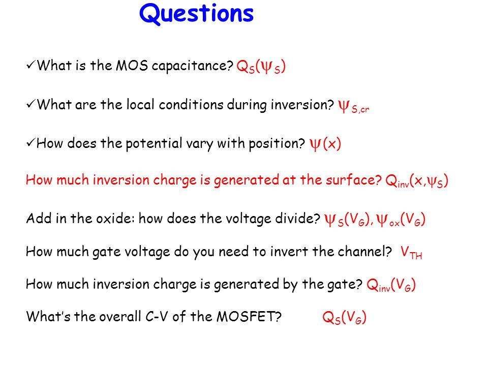 Questions What is the MOS capacitance QS(yS)