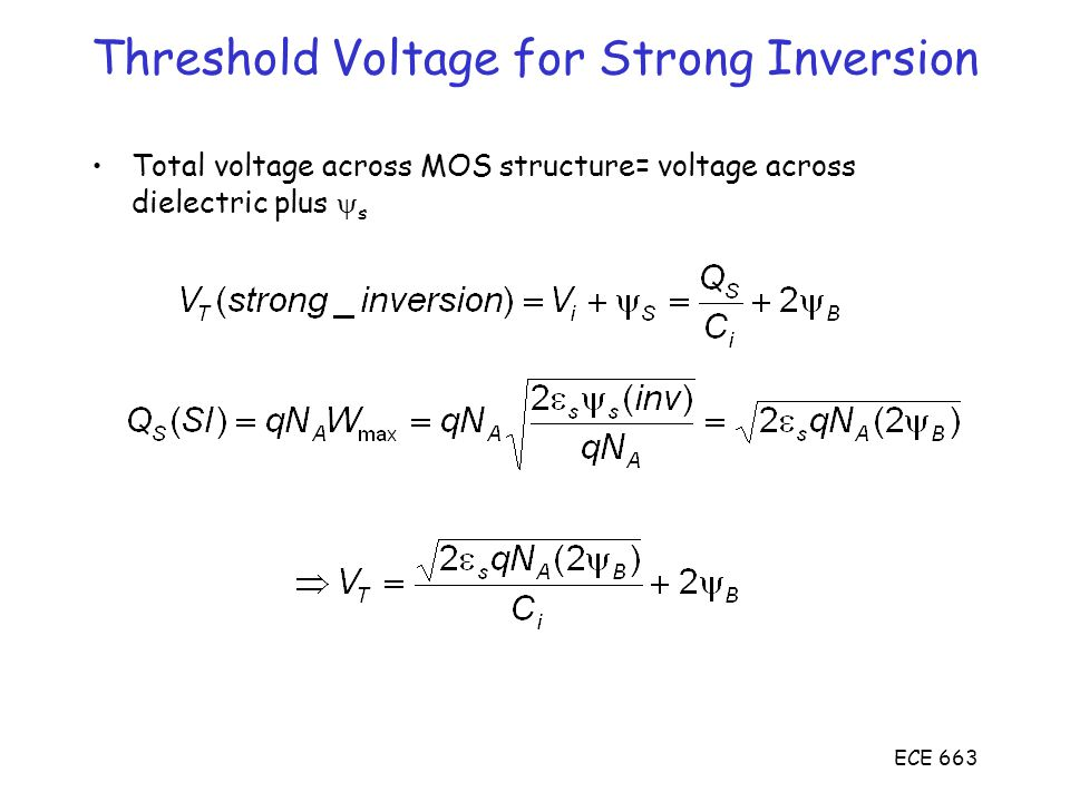 Threshold Voltage for Strong Inversion
