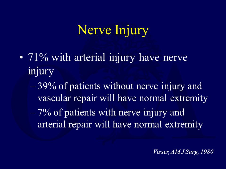 Nerve Injury 71% with arterial injury have nerve injury