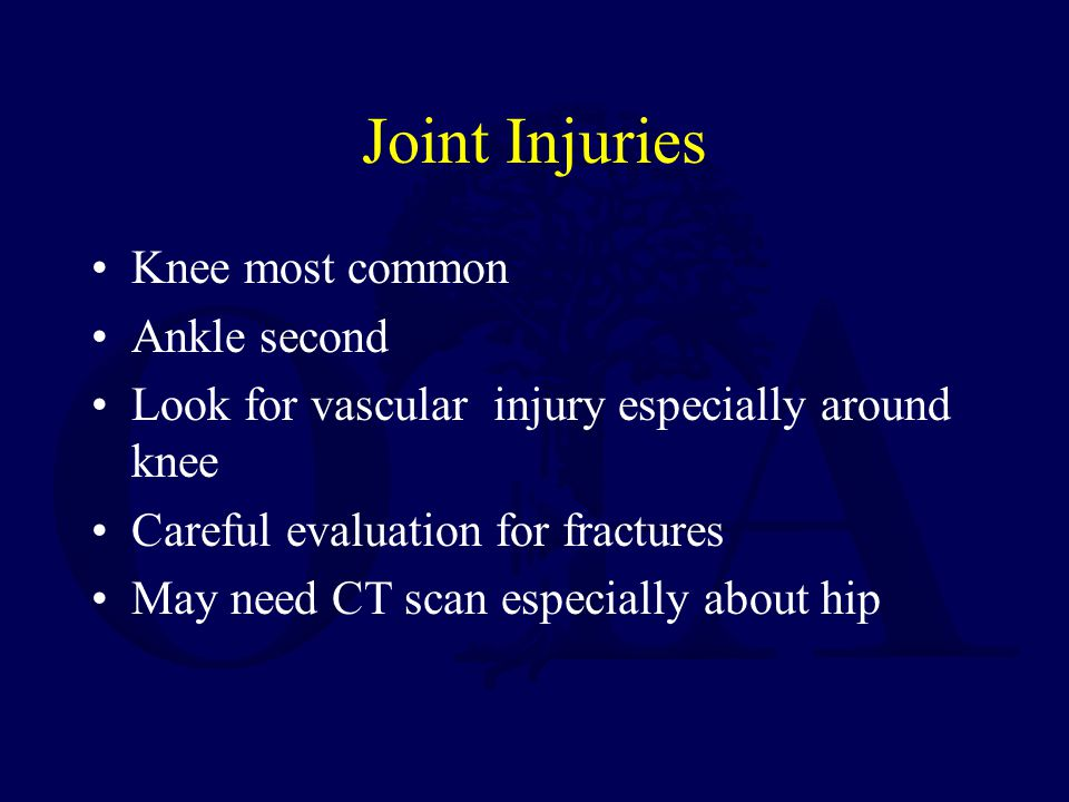 Joint Injuries Knee most common Ankle second
