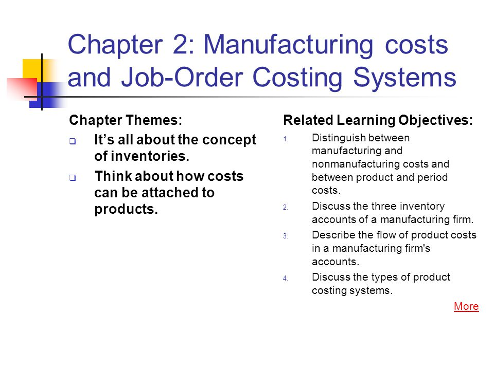 Chapter 2: Manufacturing costs and Job-Order Costing Systems