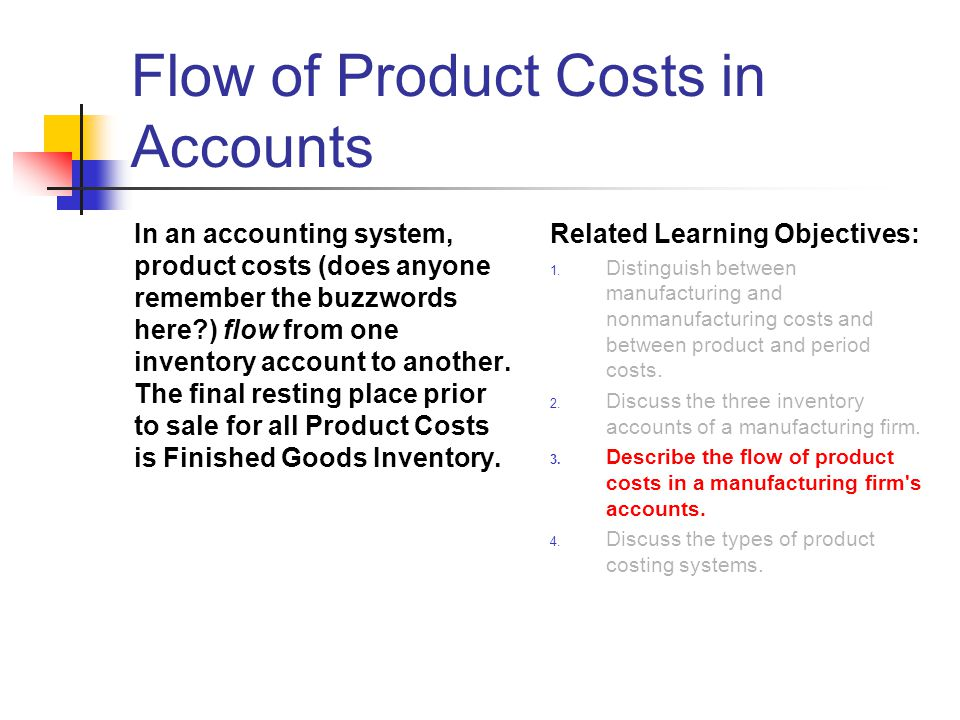 Flow of Product Costs in Accounts