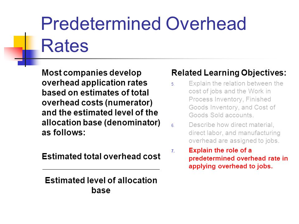 Predetermined Overhead Rates