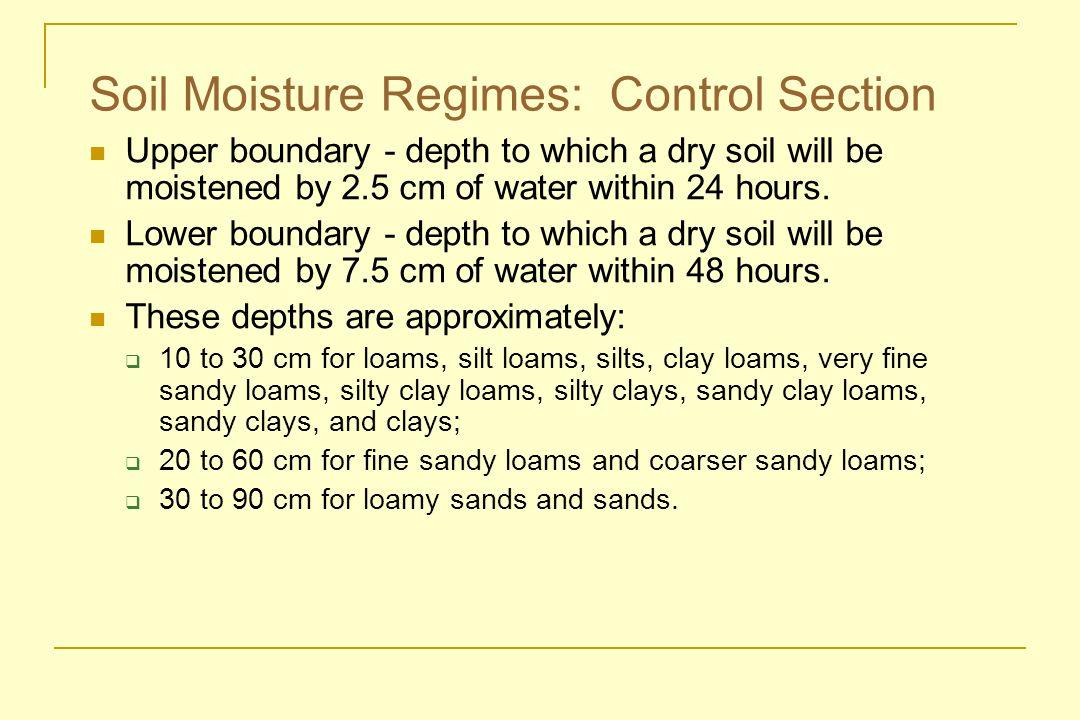 Soil Moisture Regimes: Control Section