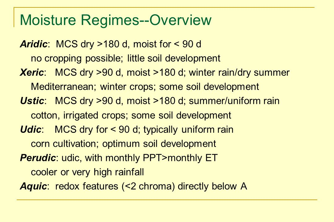 Moisture Regimes--Overview