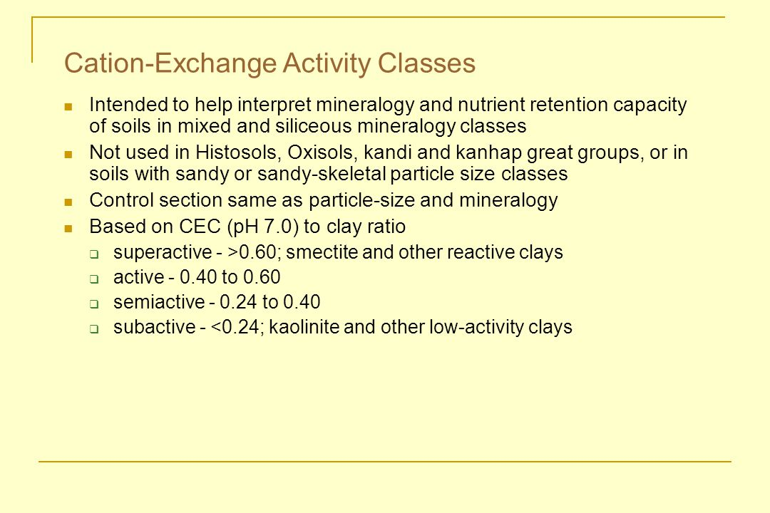Cation-Exchange Activity Classes