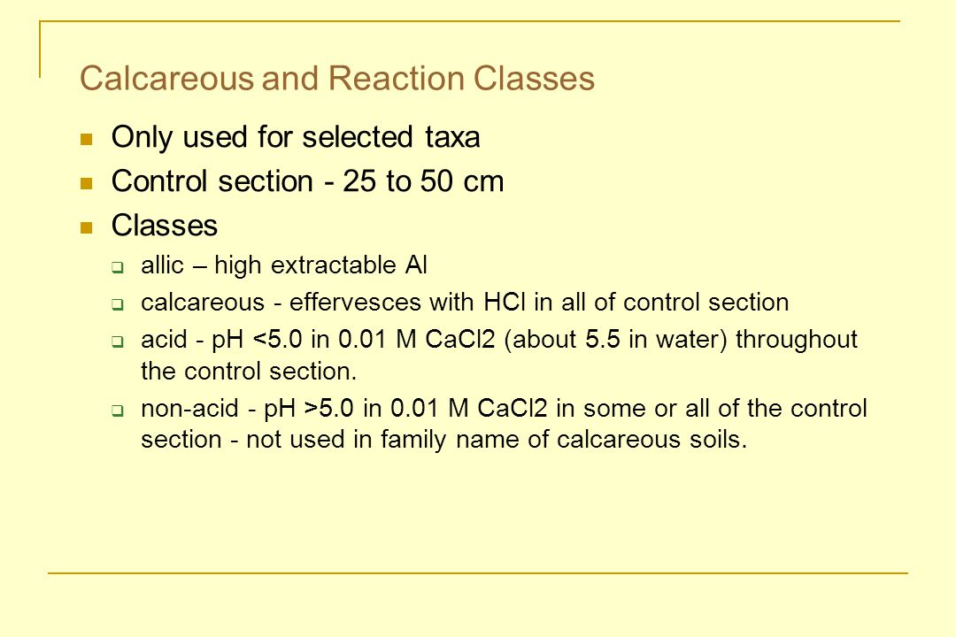 Calcareous and Reaction Classes