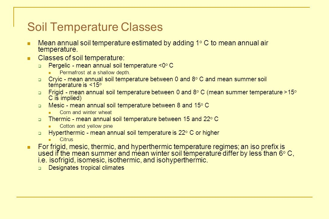 Soil Temperature Classes