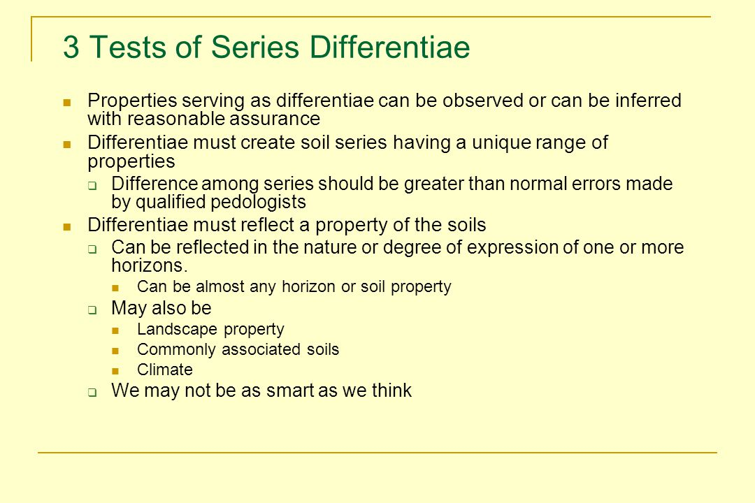 3 Tests of Series Differentiae