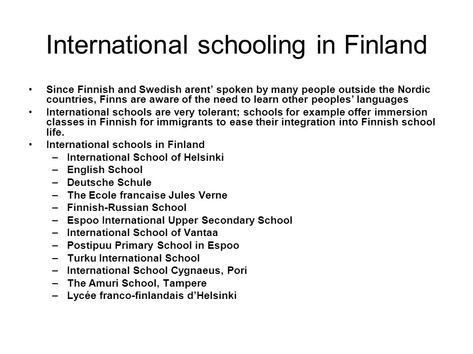 International schooling in Finland