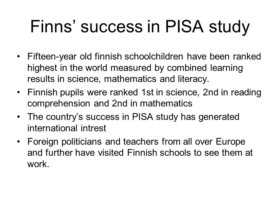 Finns' success in PISA study