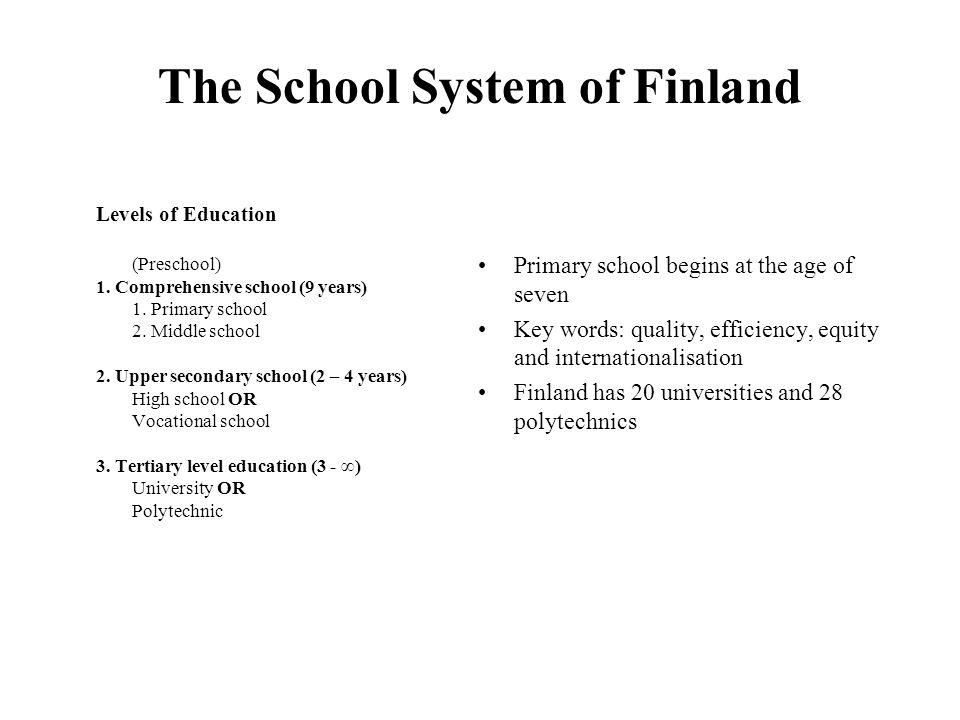 The School System of Finland