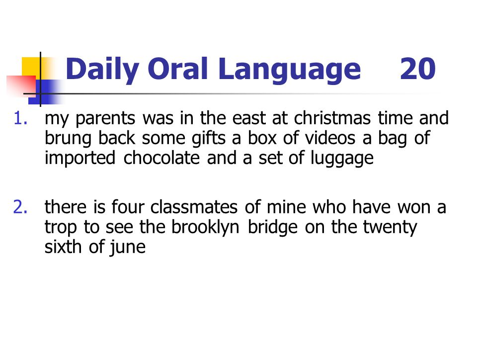 Daily Oral Language 20