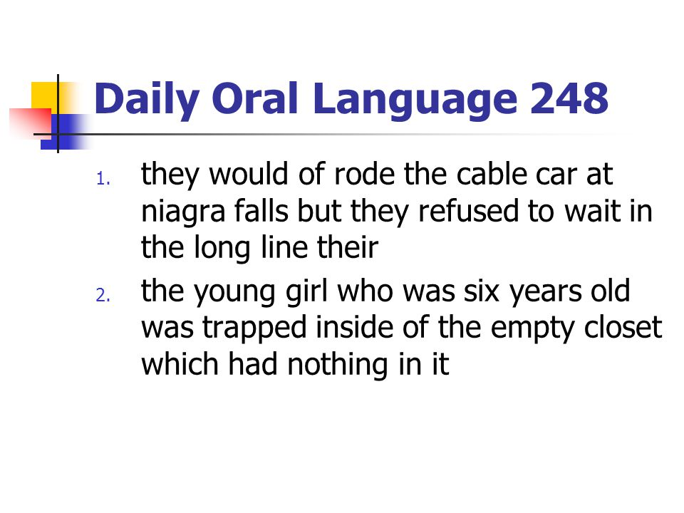 Daily Oral Language 248 they would of rode the cable car at niagra falls but they refused to wait in the long line their.