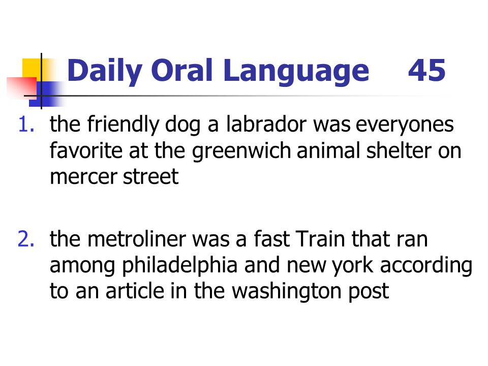 Daily Oral Language 45 the friendly dog a labrador was everyones favorite at the greenwich animal shelter on mercer street.