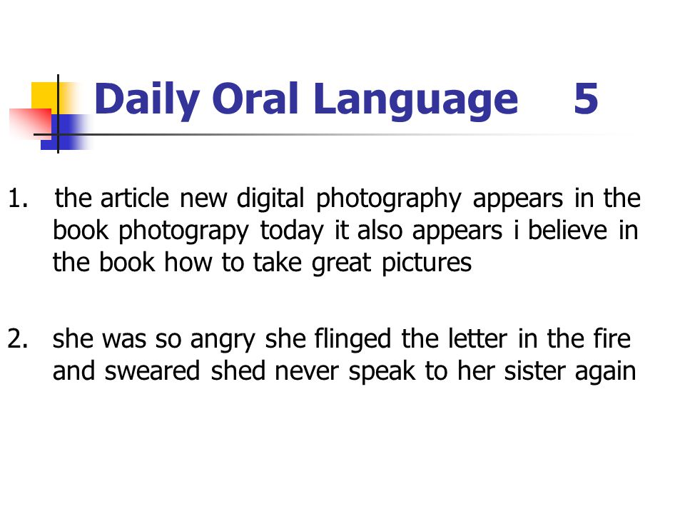 Daily Oral Language 5