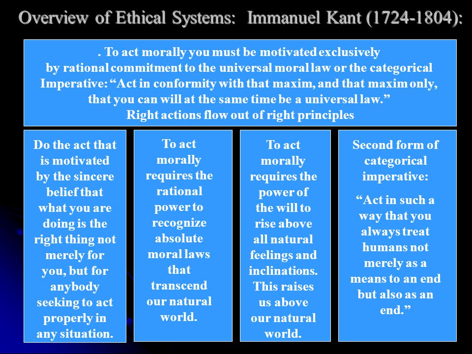 Overview of Ethical Systems: Immanuel Kant (1724-1804):