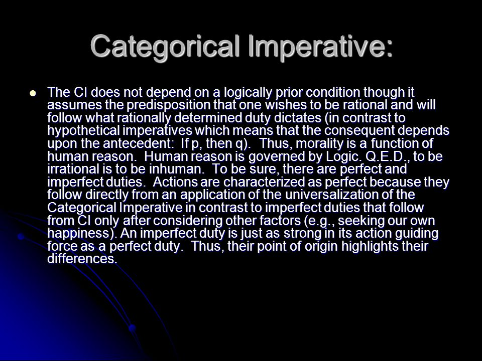 Categorical Imperative: