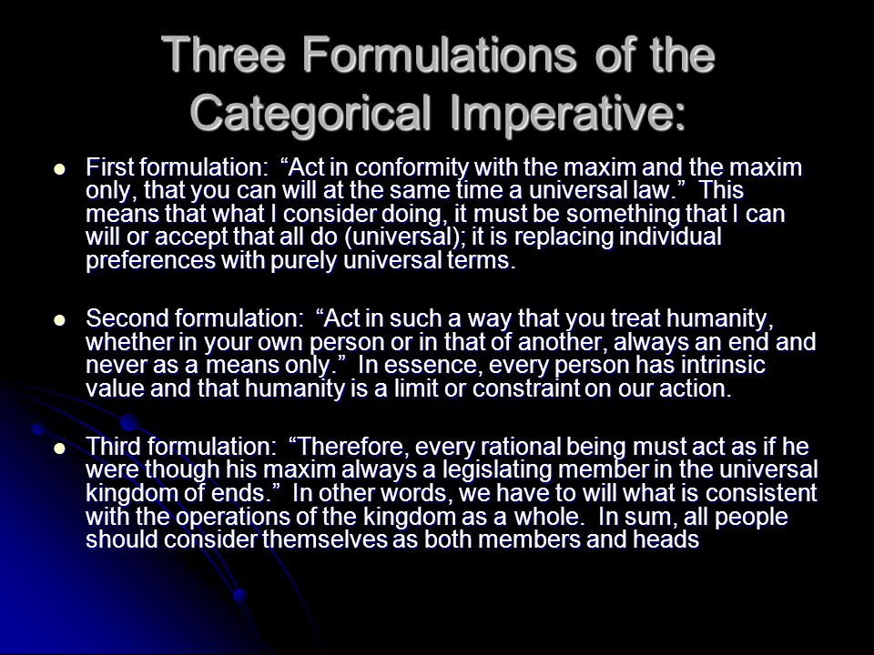 Three Formulations of the Categorical Imperative: