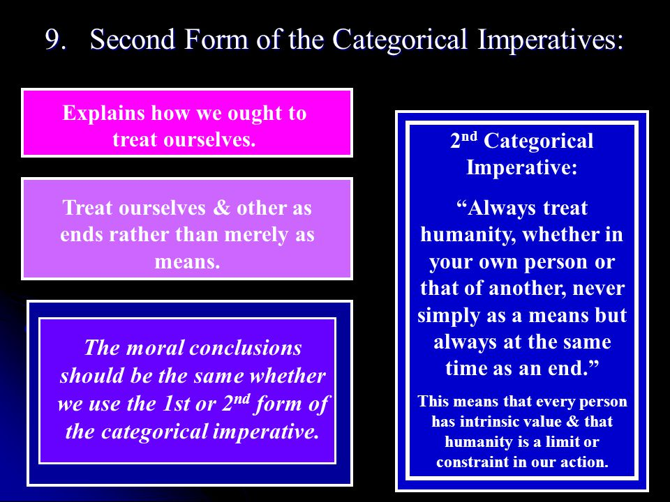 9. Second Form of the Categorical Imperatives: