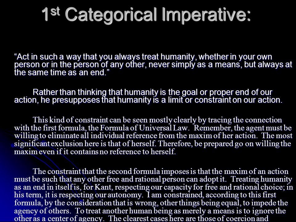 1st Categorical Imperative: