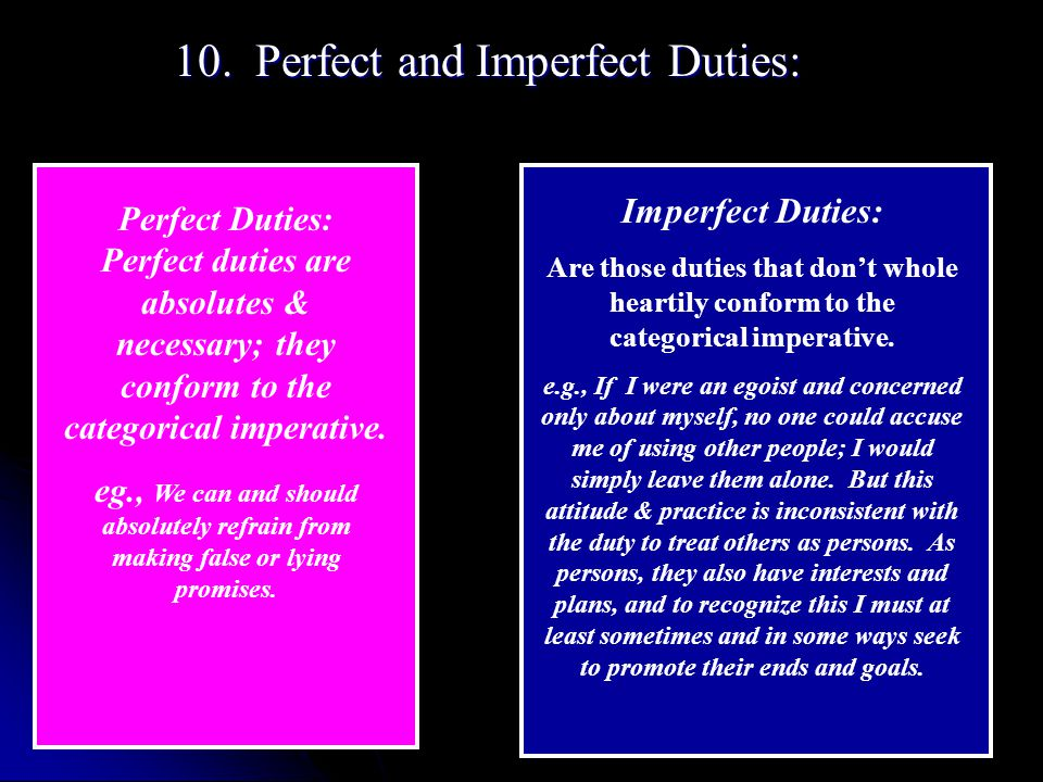 10. Perfect and Imperfect Duties: