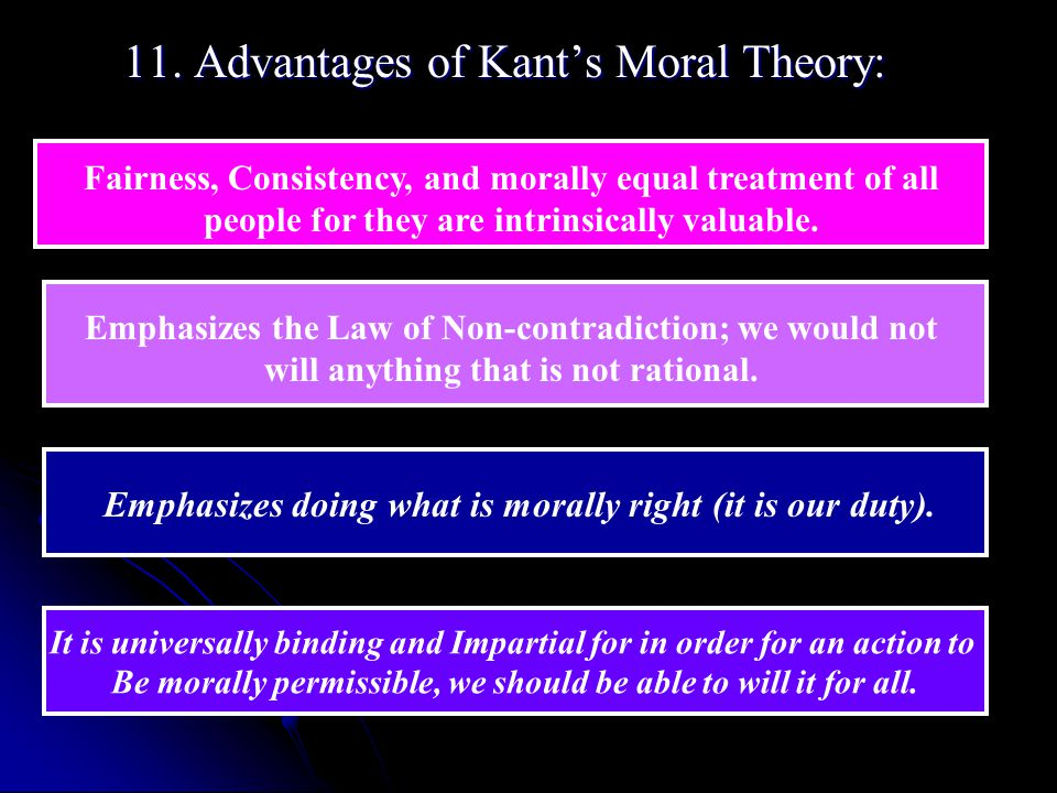 11. Advantages of Kant's Moral Theory: