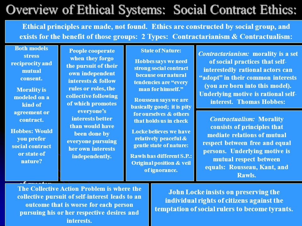 Overview of Ethical Systems: Social Contract Ethics: