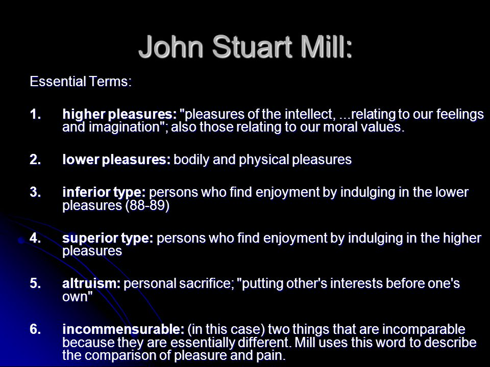John Stuart Mill: Essential Terms: