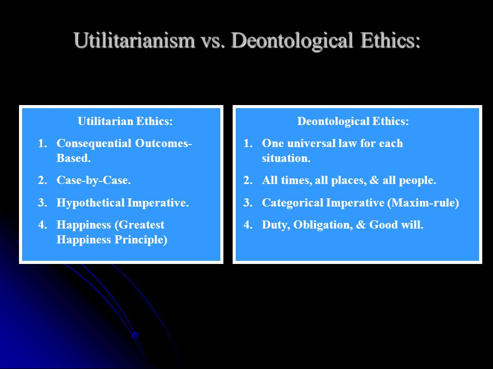 Utilitarianism vs. Deontological Ethics:
