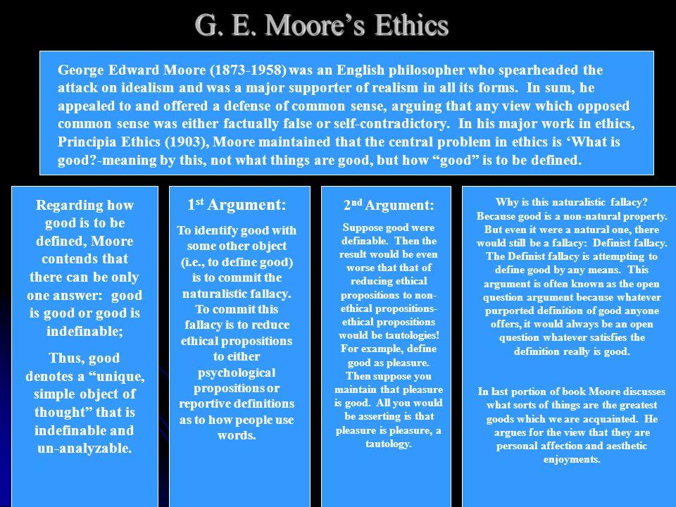 G. E. Moore's Ethics 1st Argument:
