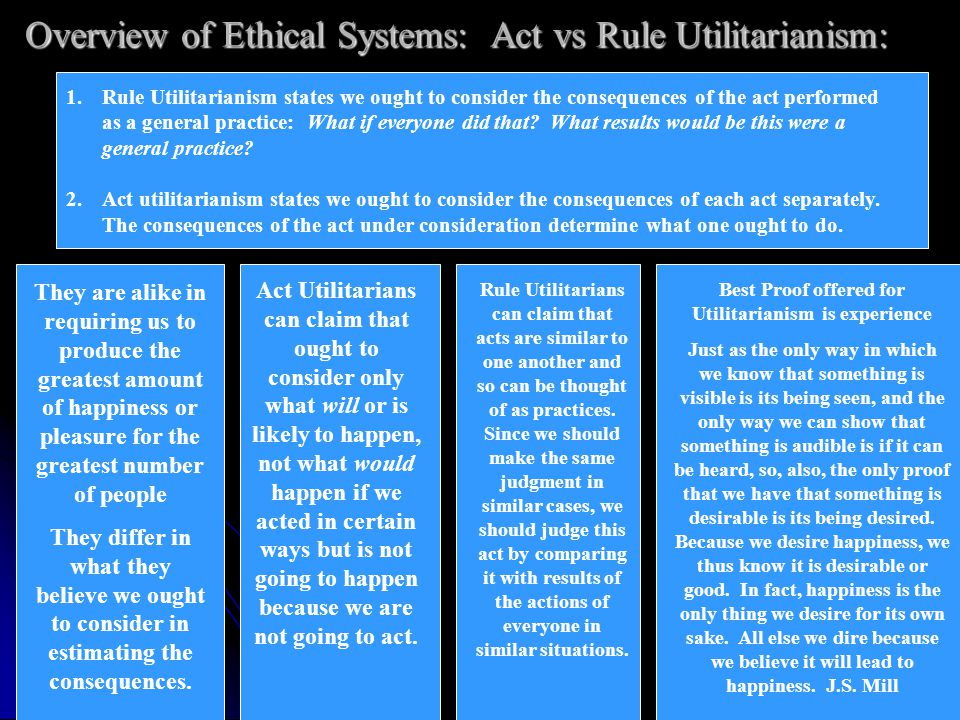 Overview of Ethical Systems: Act vs Rule Utilitarianism: