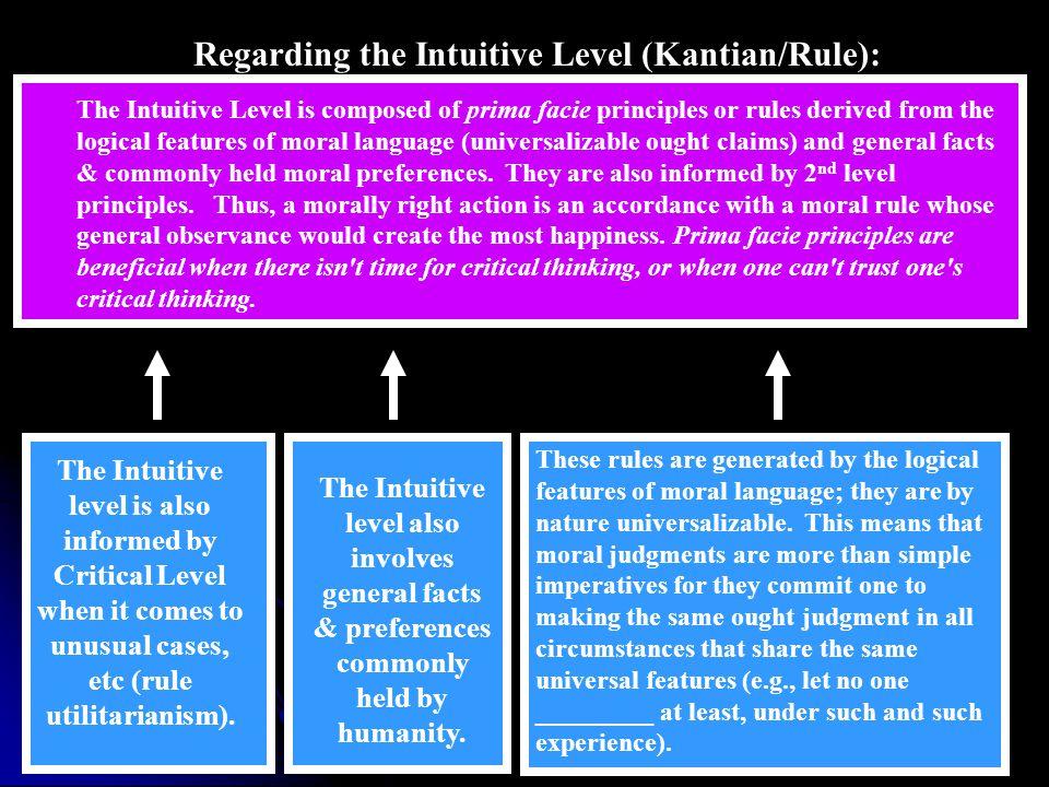 Regarding the Intuitive Level (Kantian/Rule):