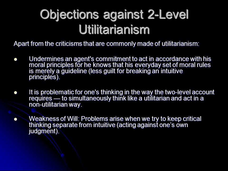 Objections against 2-Level Utilitarianism