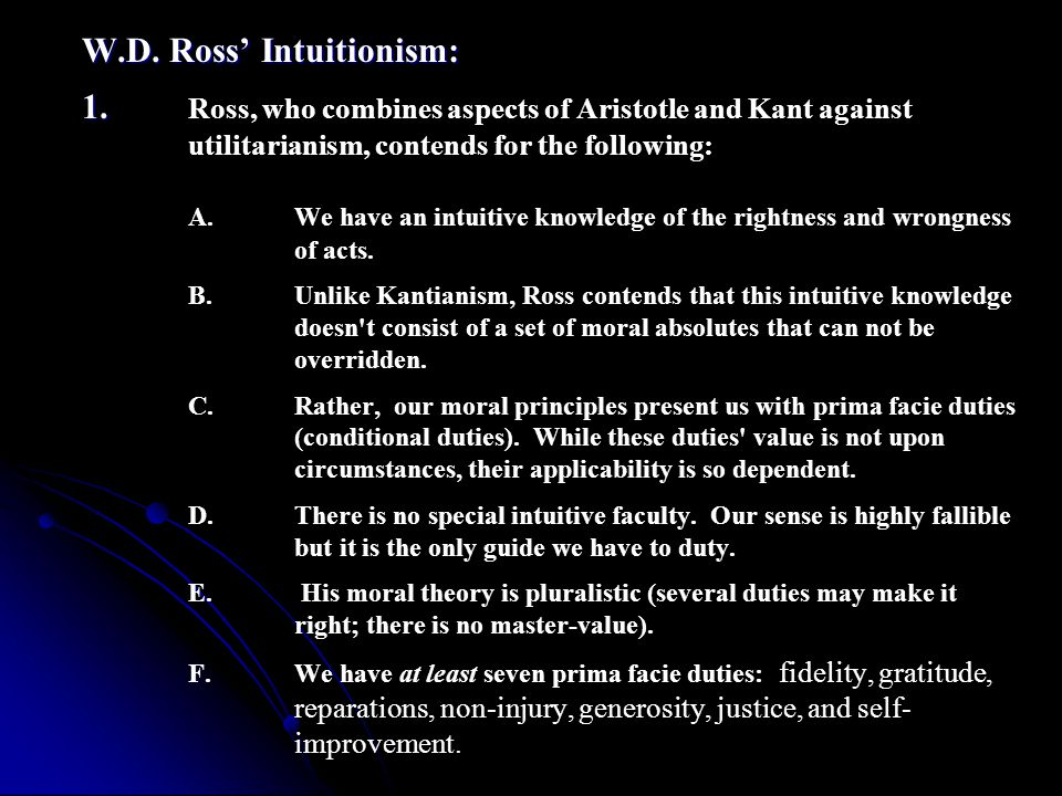 W. D. Ross' Intuitionism: 1